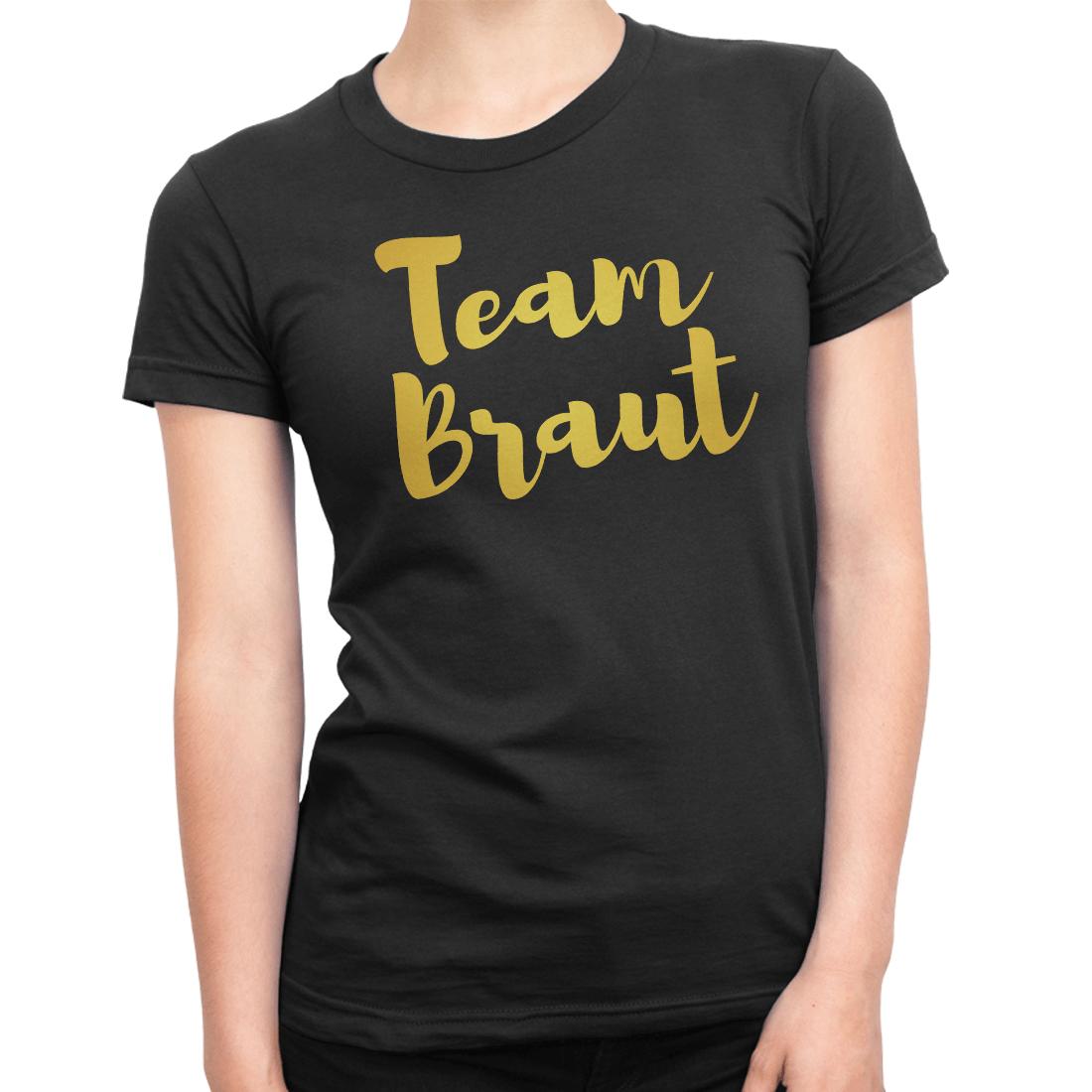 Damen T-Shirt Junggesellinnenabschied Team Braut Herz Jga Druck Gold Diamant